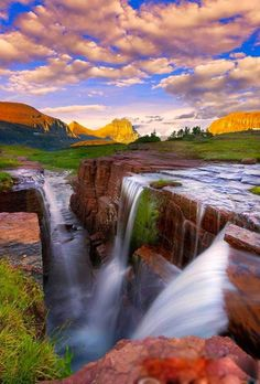 "Amazing Nature Photography That Will ""Wow' You Beauty Of NatuRe: Triple Falls Glacier National Park Image Nature, All Nature, Amazing Nature, Beauty Of Nature, Beautiful Waterfalls, Beautiful Landscapes, Places To Travel, Places To See, Beautiful World"