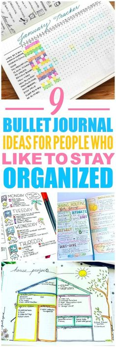 These 9 bullet journal ideas are THE BEST! I'm so glad I found these AWESOME ideas! Now I have some ideas on how to start a bullet journal. These are great weekly spreads! Such a great layout!