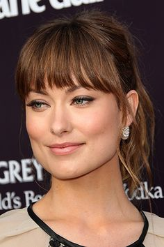 Olivia Wilde - fringe / bangs with longer sides suited for a square shaped face