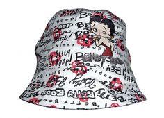 Cappello pescatore da ragazza in cotone di colore bianco con scritte nere nelle seguenti taglie: 56-58