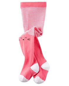 cb0e43b40e764 Carter's Girls' Knit-In Cat Face Striped Tights; Pink. Carters Baby GirlCute  ...