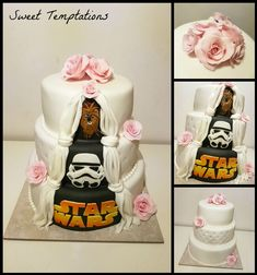 Star Wars Wedding Cake Wedding cake with little surprise for the husband on the back. He is a big Star Wars fan.