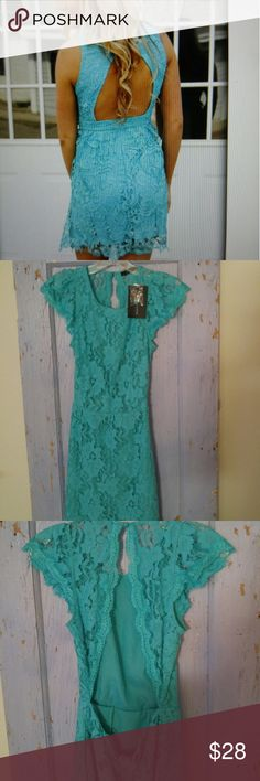 Filly Flair Lace dress GET THE LOOK! brand new boutique turquoise lace dress. gorgeous color and open back. Dresses Mini