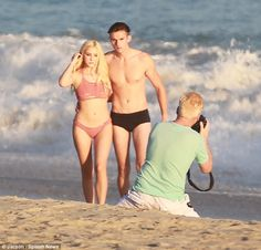 Beach babe: Ava Sambora showed off her figure as she posed on the beach in Malibu on Monday for photographer Joe Simpson