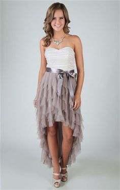 two tone glitter ruffle high low homecoming dress with side waist tie @deb rouse schwedhelm Shops http://www.debshops.com/homecoming-dresses/3272,default,sc.html?start=60=60  $74.90