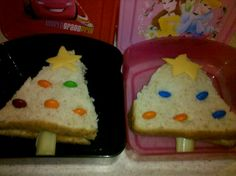 Christmas tree sandwiches. Easy, fun lunch idea! (Image only)