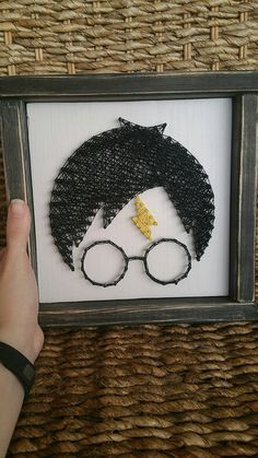 Harry Potter Inspired String Art Sign, Framed Harry Head Wall Decor, Made to Order, DIY and Crafts, image Objet Harry Potter, Theme Harry Potter, Harry Potter Room, Harry Potter Bricolage, Nail String Art, String Crafts, Resin Crafts, Nail Art, Harry Potter Classroom