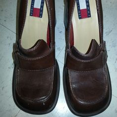 Vintage 90s platforms Brown leather 90s platforms fits 6.5 narrow feet never used!! Tommy Hilfiger Shoes