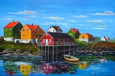 Henningsvaer revisited. This time brushes were used in stead of the knive to create this painting. It measures 120x80 cm.