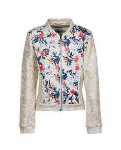 Indian Blue Jeans - S/S Sweat, Bomber / Gold + Flower Print - This sweat bomber makes you stand out everywhere. Wear it with a nice jeans and be a cool hipster! Guts Only! Indian Blue, Best Jeans, Gold Flowers, Spring Summer 2016, Flower Prints, Kids Boys, How To Make, How To Wear, Hipster