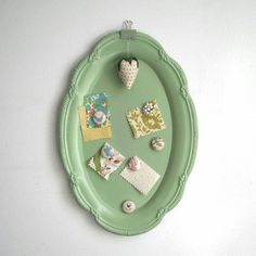 Platter upcycled as a memo board.