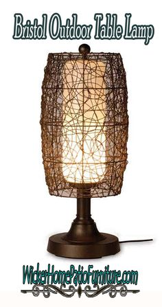 Bristol Outdoor Table Lamp Bring an exotic element to outdoor spaces and let the Bristol table lamp shine as the sun sets. A never-ending maze of twine-like PVC forms a barrel-shaped wicker surround for the protective polycarbonate inner cylinder. It sets any area aglow, perched on a weighted resin base with raised platform.