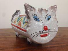 Vtg Italian Art Pottery Cat Piggy Bank Mid Century Modern Aldo Londi Bitossi Era | eBay