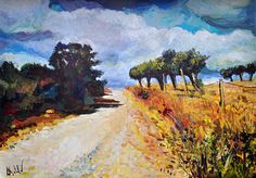 Impressionistic art Landscape acrylic painting Road with