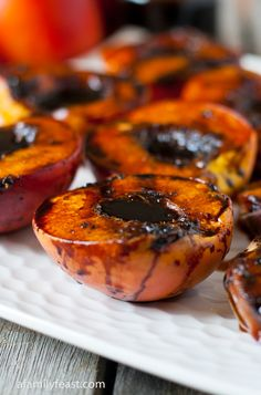 Grilled Balsamic Peaches - A Family Feast