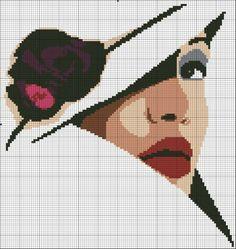 point de croix visage de femme avec un chapeau - cross stitch woman's face wearing a hat