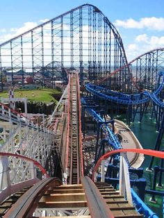 Big Dipper, built 1923, Blackpool Pleasure Beach, UK - here you can see how it is sandwiched between various other rides at the park