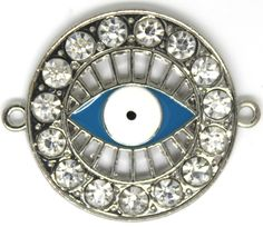 Silver Tone Eye Sideways Bracelet Connector With Rhinestones. 36mmX30mm. by AgouraBeads on Etsy