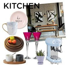 """""""Kitchen"""" by silvana-cuevas ❤ liked on Polyvore featuring interior, interiors, interior design, home, home decor, interior decorating, West Elm, Fringe, Smeg and Waterford"""