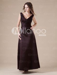 Chocolate V-neck Taffeta Floor Length Womens Bridesmaid Dress - Milanoo.com