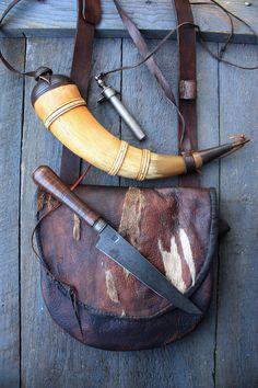 Bag by Maryellen Pratt. Horn by Tim Crosby, Knife by Ian Pratt, Powder measure by Karl Keuhn.