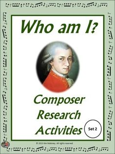 COMPOSER RESEARCH ACTIVITIES Set 2 A great resource for the music classroom. It can be used in so many ways! #musiceducation #MusicTeacherResources