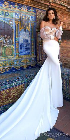 Crystal Design 2017 bridal long bishop sleeves off the shoulder sweetheart neckline heavily embellished bodice elegant sheath wedding dress lace back chapel train (paloma) mv #bridal #wedding