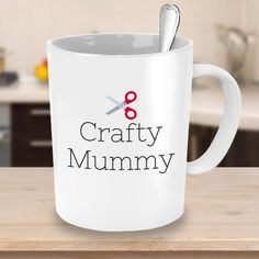 Crafty Mummy with Red Scissors - Crafty Coffee Mug - Crafts & DIY Lover Gift Idea #giftideas #etsy #etsyseller #shopping #coffee