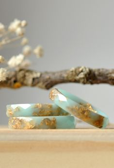 Mint Resin Ring With Gold Flakes - Green Ring with Gold leaf - Thin Faceted Band Ring - Resin Stacking Ring