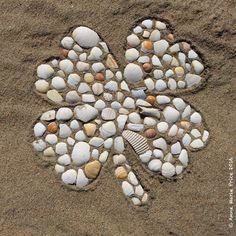 Beach Art Mosaic by Anne Marie Price.   www.ampriceart.com   #beach #art #BolsaChica #CA #woman #AnneMariePrice #beachart #HB #HuntingtonBeach #shells #mosaic #fourleafclover