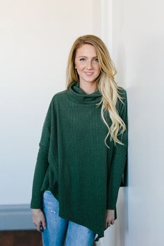 Asymmetrical Cowl Neck Sweater- Olive