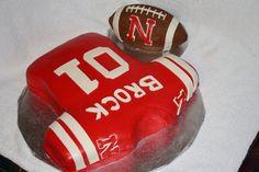 Nebraska Huskers Football Jersey W/ Football  on Cake Central