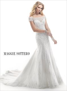Soft lace scallops dance along the off-shoulder neckline of this stunning slim A-line wedding dress, Calypso by Maggie Sottero.