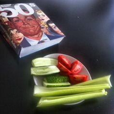 My #vegan #lunch at work: #celery, #cucumbers and #tomatoes. Inspiration - All-American Ads :)