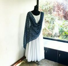 Indigo dupatta with pure white flared salwar