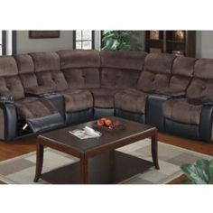 Chocolate Microfiber Sectional w/ Cup Holders & 2 Recliners - Casye Furniture Reclining Sectional, Sectional Sofa, Drop Down Table, Sofa Legs, Wooden Sofa, Cup Holders, Armless Chair, Recliners, Leather Sectional