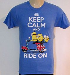 MINIONS size SMALL Shirt KEEP CALM RIDE ON Scooter Union Jack NEW & 20+ STICKERS #IlluminationEntertainmentMINIONS #CrewNeck
