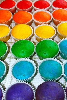 A Rainbow of Cupcakes (colorful,dyed,pretty,cupcakes,prefrosted)
