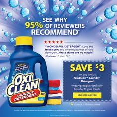 OxiClean Laundry Detergent- Try it to see why 95% of reviewers would recommend*!