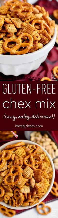 Gluten-Free Chex Mix is salty, crunchy, and totally addicting. Just like the original, only gluten-free - easily made dairy-free, too! | iowagirleats.com