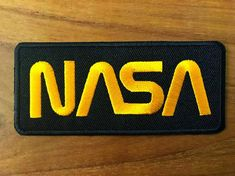 This item is unavailable Nasa Patch, Nasa Clothes, Fabric Glue, Silk Material, Iron On Patches, Black N Yellow, Green Colors, Logos, Etsy