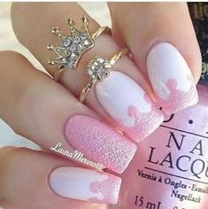 Don't worry if you are a beginner and have no idea about the nail designs. These pink nail art designs for beginners will help you get ready for your date Cute Pink Nails, Pink Nail Art, Cute Nail Art, Fancy Nails, Beautiful Nail Art, Love Nails, My Nails, White Nails, Beautiful Images