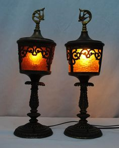 Pair of Amber Glass Bent Panel  Art Deco Mantle or Buffet Lamps