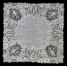 Antique Victorian Belgian Duchess Lace Bridal Hankerchief Handkerchief ca 1890