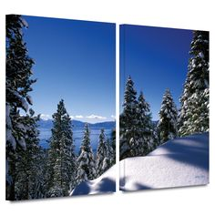 'Lake Tahoe in Winter' by Kathy Yates 2 Piece Photographic Print Gallery-Wrapped on Canvas Set