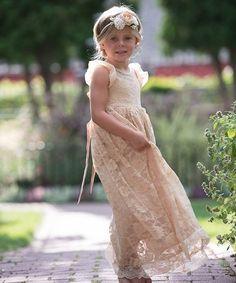 Think Pink Bows Champagne Stella Flutter-Sleeve Dress - Infant 6fb8d27a6
