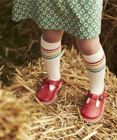 rainbow striped tube socks and red shoes. So cute!