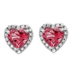 Elora 10k White Gold Pink Tourmaline and 1/4ct TDW Diamond Heart Halo Stud Earrings (I-J, I2-I3) (Earrings), Women's, Size: Medium