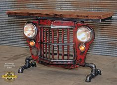 Steampunk Industrial / Original vintage Jeep Willys Grille / Table Sofa Hallway / RED / Table - March 02 2019 at Car Part Furniture, Automotive Furniture, Automotive Decor, Pipe Furniture, Reclaimed Furniture, Refinished Furniture, Recycled Furniture, Handmade Furniture, Jeep Willys