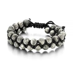 – Natural stone bracelet – two rows – with cotton wrap and Jasper stone 8 mm – one-size + cm) – grey / silver Jasper Stone, Stone Bracelet, Natural Stones, Beaded Bracelets, Jewels, Grey, Cotton, Silver, Gray